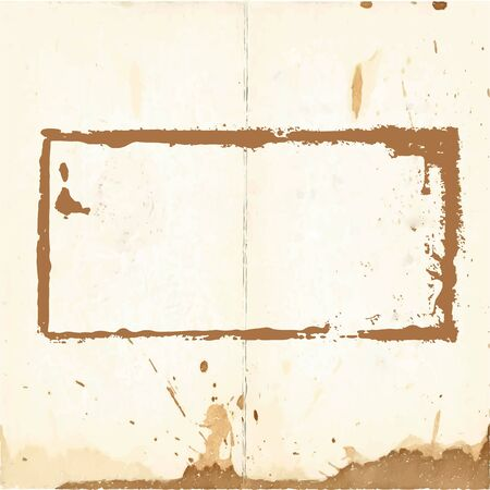 imprint: Dirty rectangular imprint stamp on old paper
