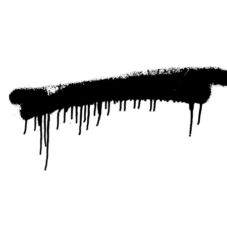dripping paint: black spray paint on white isolated background Illustration