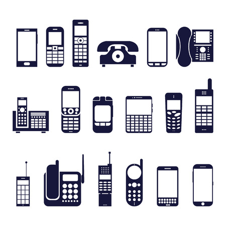 Set of icons different phones on a white background