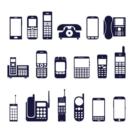 Reihe von Icons verschiedene Telefone auf einem weißen Hintergrund Standard-Bild - 37256514
