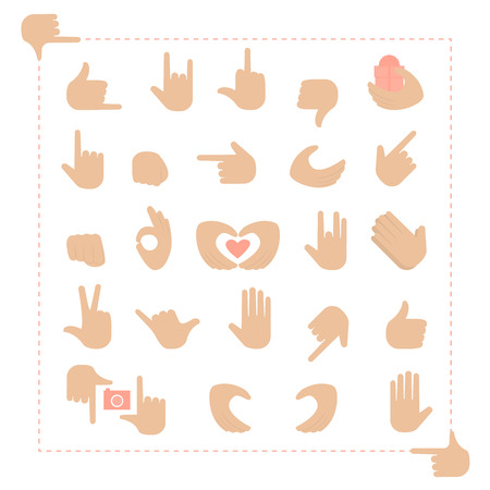 Hand gestures set on a white background 向量圖像