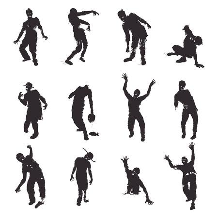 Vector silhouettes Zombie mis sur fond blanc