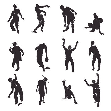 Vector Zombie silhouettes set on white background Vettoriali