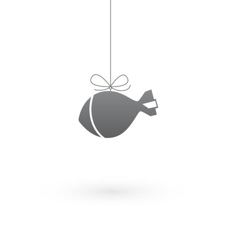 dangerous weapons: Bomb on a rope on white background