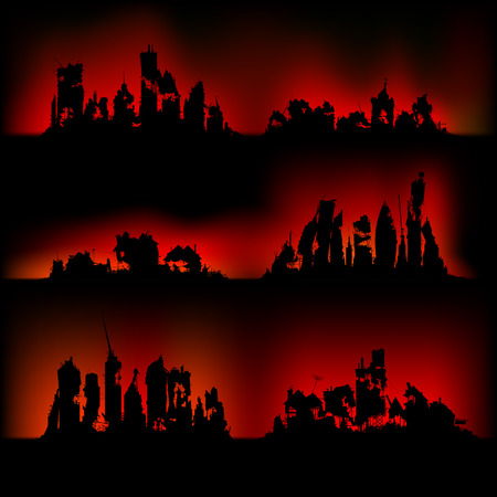 destroyed: Fire in a modern city, night scene. Silhouettes destroyed cities on fire Illustration