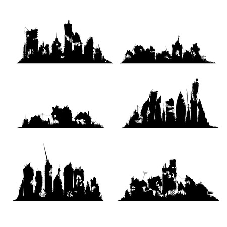 Silhouettes destroyed cities set on white background