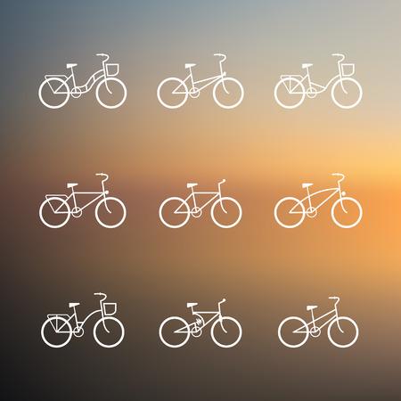 Eenvoudige symbolen fiets ingesteld. Fiets tekenen. Vector set van eenvoudige fiets pictogrammen Stockfoto - 37923799