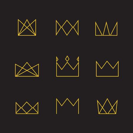 Geometric crown set. Crown thin line icons