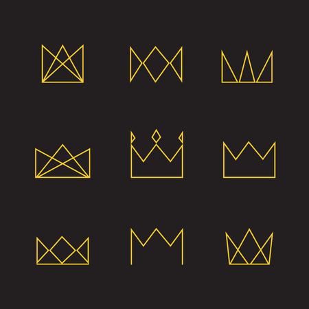 crown silhouette: Geometric crown set. Crown thin line icons