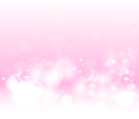 Abstract pink snow background. Magic light vector background. Pink background with defocused lights
