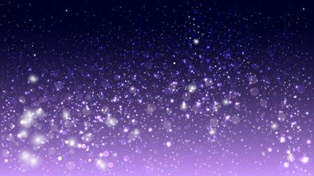 estrellas moradas: Resplandor mágico y bokeh sobre fondo morado Vectores