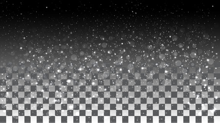 snow: Falling snow on a transparent background. Vector special effects on a transparent background
