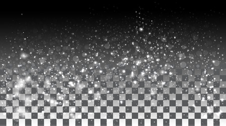 lighting background: Falling snow on a transparent background. Vector special effects on a transparent background