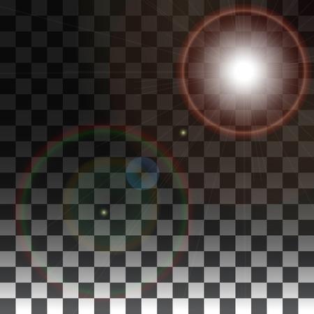 efectos especiales: Lente del vector llamarada en un fondo transparente. Vector efectos especiales sobre un fondo transparente