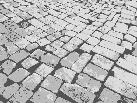 Masonry paving grunge background. Granite paving blocks square transverse rows.