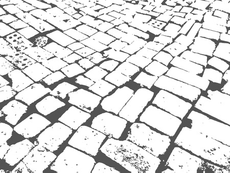 Masonry paving grunge background. Granite paving blocks square transverse rows.