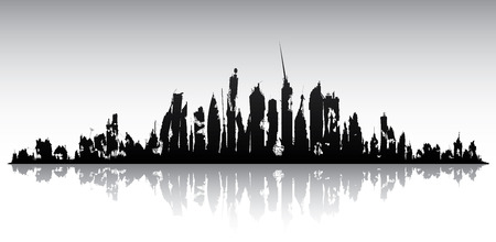 Skyline ruined city isolated on a white background