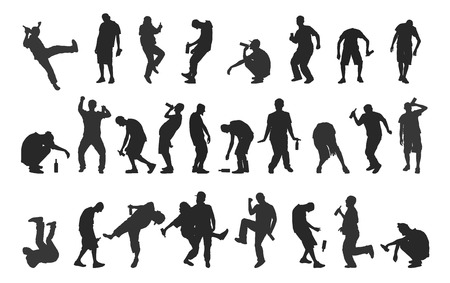falling down: Silhouettes of drunk people isolated on a white background