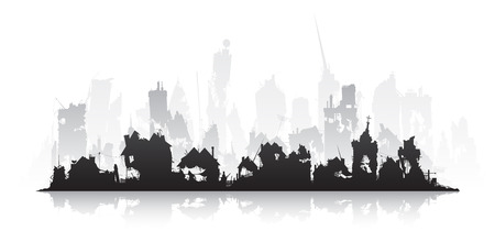 Ghost town. Ruined city silhouette on a white background isolated