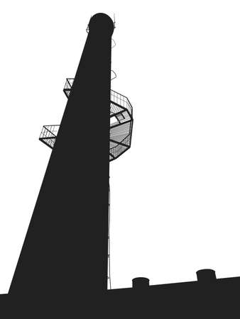 tower tall: big black tall tower on a white background vector