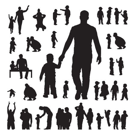 mom son: Children and parents silhouettes set on a white background