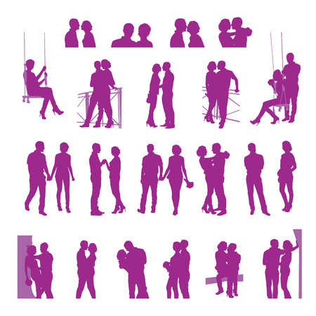 couple date: Romantic date silhouettes. Loving couple silhouettes on a white background. Illustration