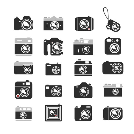 Cameras icons set. Digital modern and vintage film cameras on a white background.