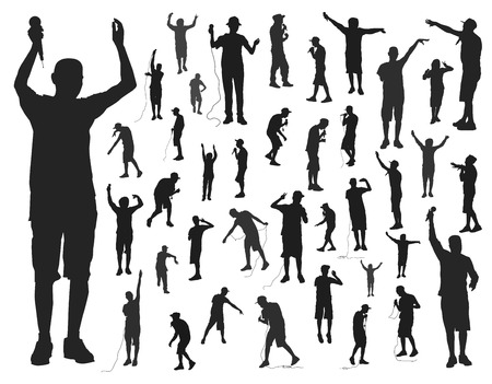 rap music: many silhouettes rap artists on white background vector