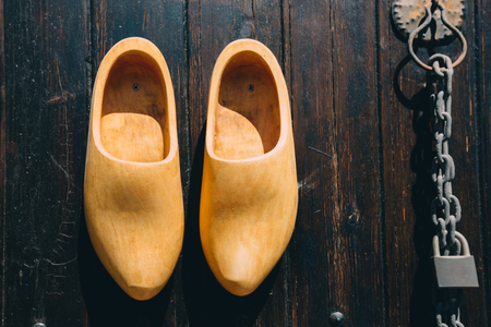 wooden shoes: Designer mailbox in a shoe. knocker and wooden shoes