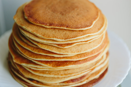 color photo: Russian pancakes close-up on a white background. color photo