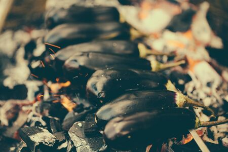 Eggplant on a skewer roasting on coals. Cooking eggplant charcoal closeup.