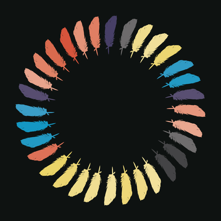 glamors: Colorful painted feathers folded into a circle vector. Illustration