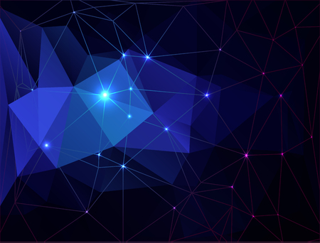 rumpled: Blue abstract geometric rumpled triangular with bright dots on a black background.