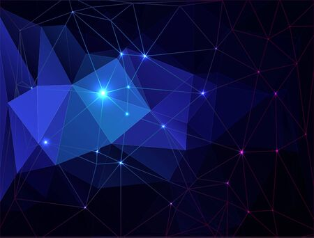 Blue abstract geometric rumpled triangular with bright dots on a black background.