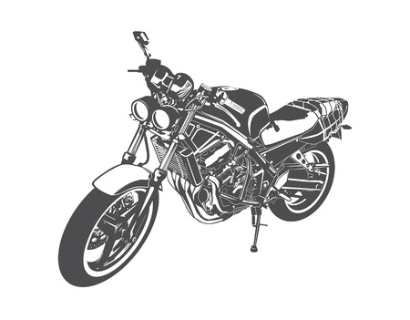 contemporary design: Sport motorcycle vector drawing isolated on white background Illustration