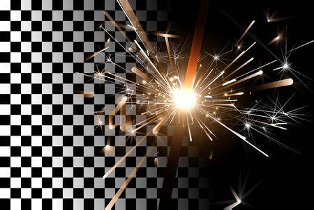 party night: Sparkler on a transparent background. New Years Design Template. Burning Bengal Light Vector Illustration. Illustration