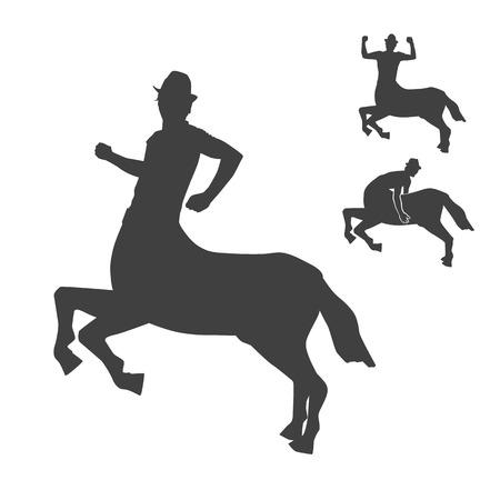 Black and white centaur silhouettes vector set.