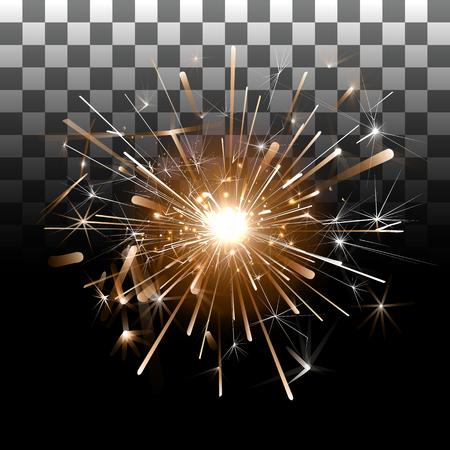 透明な背景の上で花火。背景は透明で線香花火。