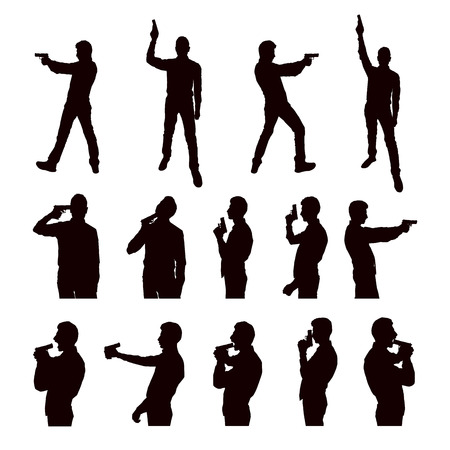 larceny: Silhouettes of the person with the gun on a white background.