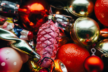 Closeup view of many beautiful christmas or new year fir tree decoration colorful toys. Stock Photo