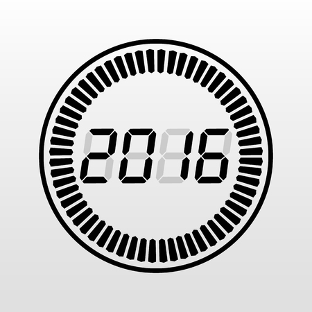 digital indicator: Digital 2016 year time icon on a white background. Illustration