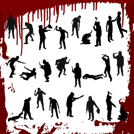 Vector set silhouettes of a maniac on a white background with a blood.