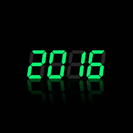 digital numbers: Green digital numbers 2016 year time on a black background. Illustration