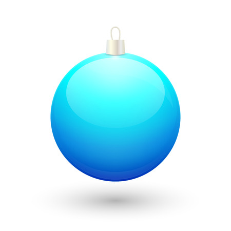 blue ball: Gradient christmas blue ball vector on a white background.