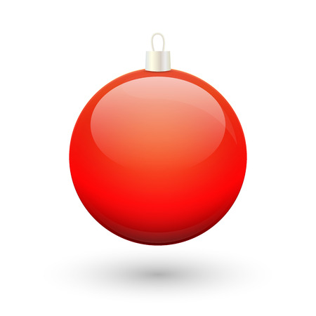 red ball: Gradient christmas red ball vector on a white background.