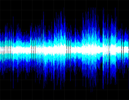 Blue abstract digital sound wave background. Vector art.
