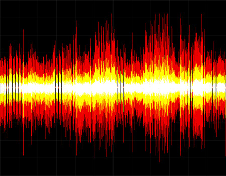 red sound: Red and yellow abstract digital sound wave background.