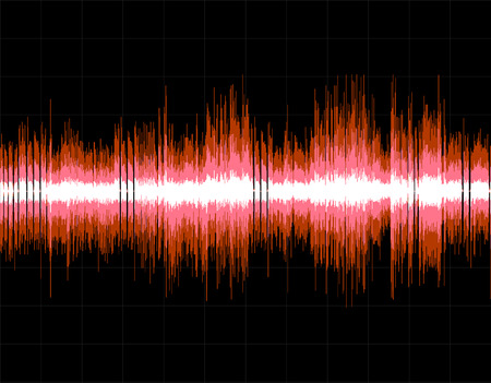 the sound of waves: Red abstract digital sound wave background. Vector art. Illustration