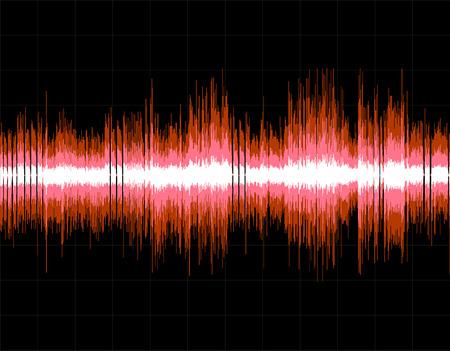 Red abstracte digitale geluidsgolf achtergrond. Vector art.