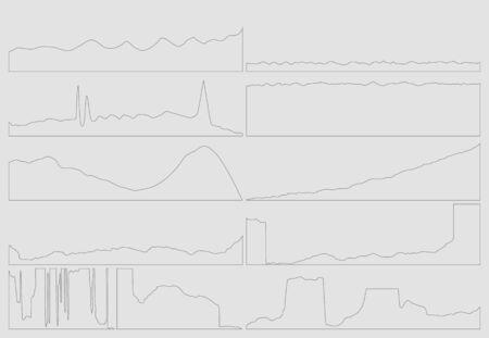 trend: Gray business flat graph trend chart. Vector art.